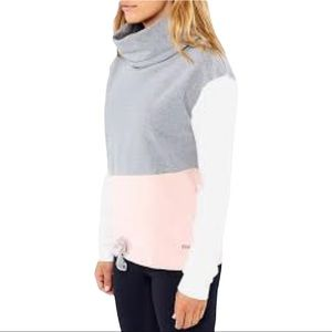 Bench Colour Block Cropped Funnel Neck Sweater Size Medium Pink White Grey